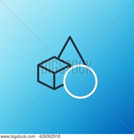 Line Basic Geometric Shapes Icon Isolated On Blue Background. Colorful Outline Concept. Vector