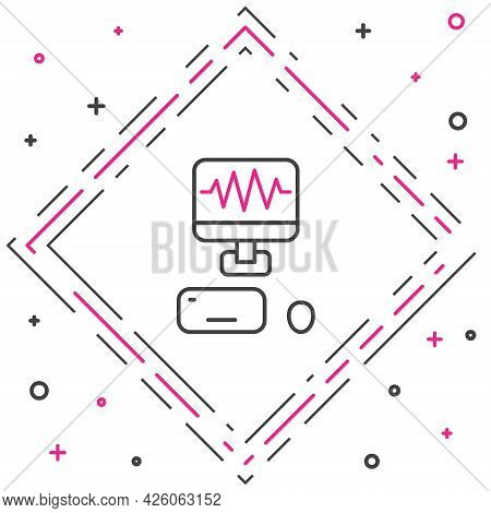 Line Music Sound Recording Studio Control Room With Professional Equipment Icon Isolated On White Ba