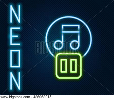 Glowing Neon Line Pause Button Icon Isolated On Black Background. Colorful Outline Concept. Vector