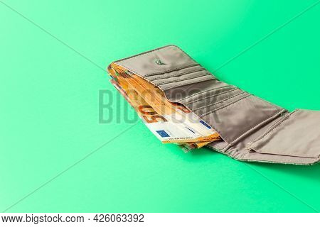 Money. Cash. Euro Bills In The Wallet. The Salary. Poverty And Wealth Concept. Money Savings. Copy S