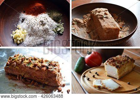 Tutorial Set Of Baking Tasty Spiced Ukrainian Traditional Salo - Pork Lard