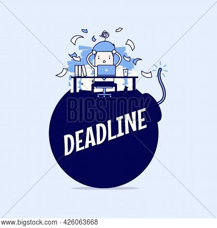 Businessman In Hard Work And Sitting On Deadline Bomb. A Lot Of Work. Stress At Work. Cartoon Charac