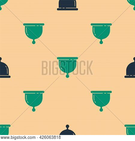Green And Black Menstrual Cup Icon Isolated Seamless Pattern On Beige Background. Feminine Hygiene.