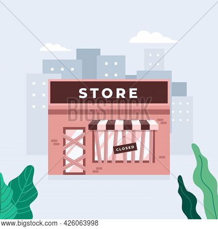 Store Shop Or Cafe Is Bankrupt And Closed. Locked Door On A Business That Has Gone Bankrupt. Closing