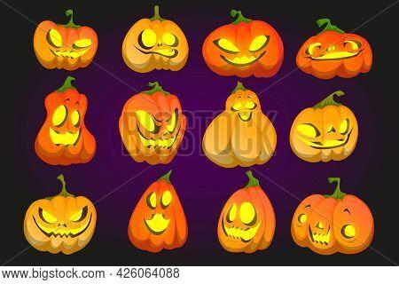 Halloween Pumpkin Funny Faces, Jack-o-lantern Cartoon Character Emoji, Cute Or Spooky Smiling Ghosts