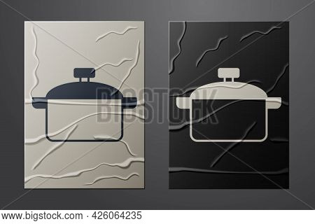 White Cooking Pot Icon Isolated On Crumpled Paper Background. Boil Or Stew Food Symbol. Paper Art St