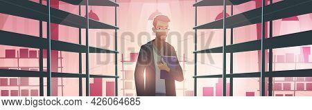 Businessman In Warehouse With Empty Metal Racks. Vector Cartoon Illustration Of Storage Room Interio