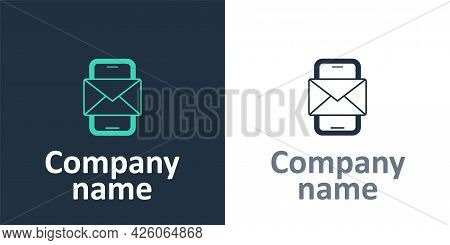 Logotype Mobile And Envelope, New Message, Mail Icon Isolated On White Background. Usage For E-mail
