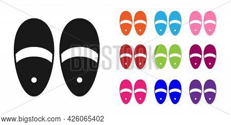 Black Slippers Icon Isolated On White Background. Flip Flops Sign. Set Icons Colorful. Vector