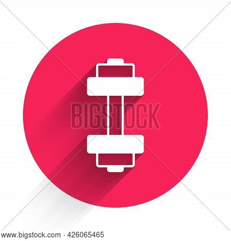 White Dumbbell Icon Isolated With Long Shadow. Muscle Lifting Icon, Fitness Barbell, Gym, Sports Equ