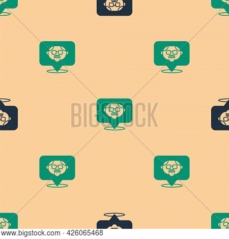 Green And Black Grandfather Icon Isolated Seamless Pattern On Beige Background. Vector