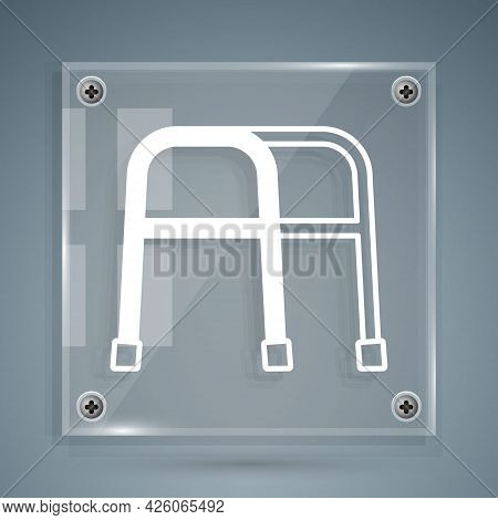 White Walker For Disabled Person Icon Isolated On Grey Background. Square Glass Panels. Vector
