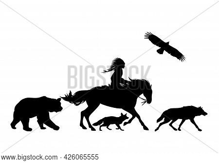 Native American Shaman Riding  Horse And Wild Animals Running Aside - Black And White Vector Silhoue