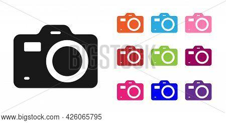 Black Photo Camera Icon Isolated On White Background. Foto Camera. Digital Photography. Set Icons Co