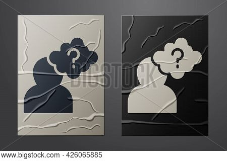 White Human Head With Question Mark Icon Isolated On Crumpled Paper Background. Paper Art Style. Vec