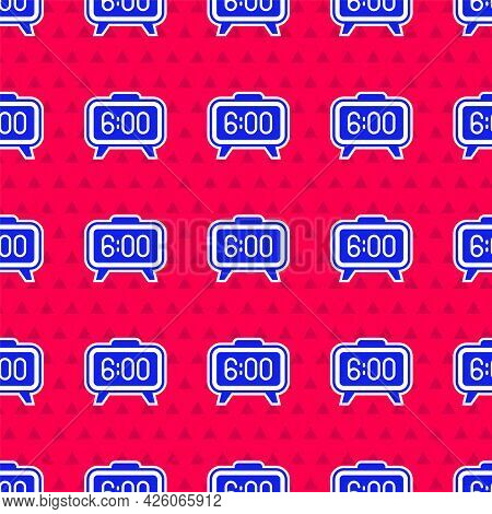 Blue Digital Alarm Clock Icon Isolated Seamless Pattern On Red Background. Electronic Watch Alarm Cl