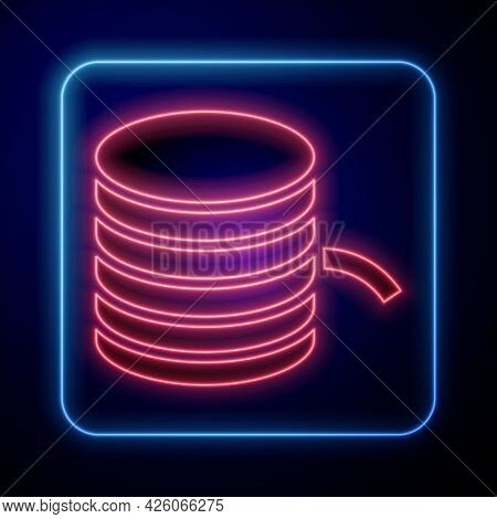 Glowing Neon Plastic Filament For 3d Printing Icon Isolated On Black Background. Vector