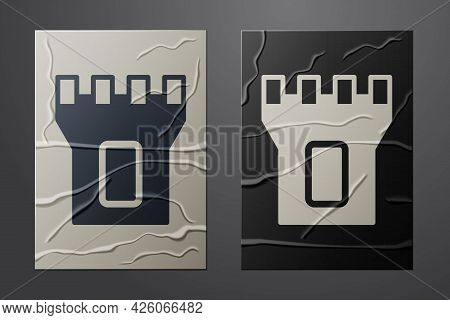 White Castle Tower Icon Isolated On Crumpled Paper Background. Fortress Sign. Paper Art Style. Vecto