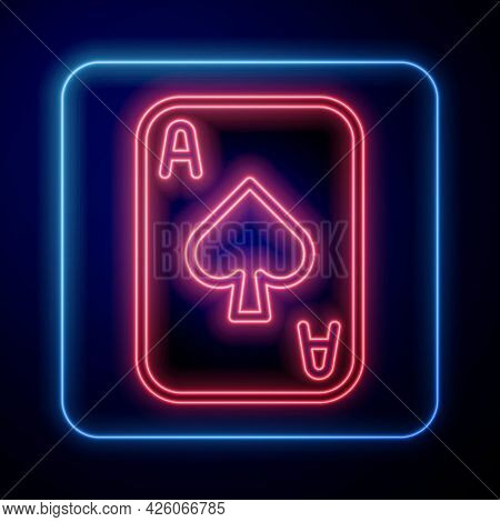 Glowing Neon Playing Cards Icon Isolated On Black Background. Casino Gambling. Vector