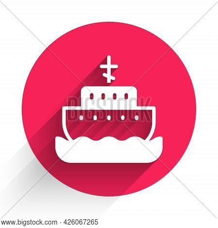 White Ark Of Noah Icon Isolated With Long Shadow. Wood Big High Cargo. Red Circle Button. Vector