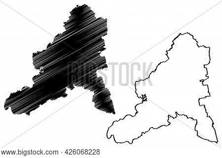 Bad Durkheim District (federal Republic Of Germany, State Of Rhineland-palatinate) Map Vector Illust