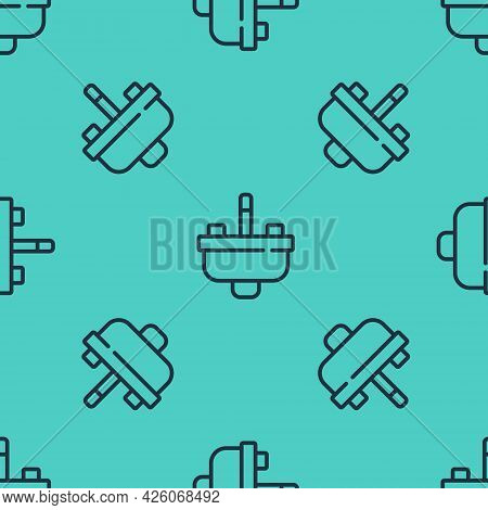 Black Line Washbasin With Water Tap Icon Isolated Seamless Pattern On Green Background. Vector