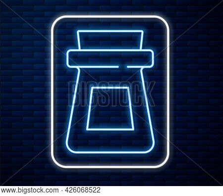 Glowing Neon Line Bottle With Potion Icon Isolated On Brick Wall Background. Flask With Magic Potion
