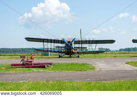 Gorodok. Ukraine. June 6, 2021. Tsuniv Airfield. Tsuniv Airfield.biplane, In The Parking Lot Of The