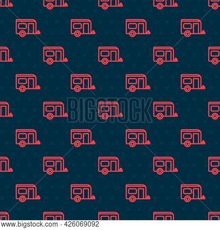 Red Line Rv Camping Trailer Icon Isolated Seamless Pattern On Black Background. Travel Mobile Home,