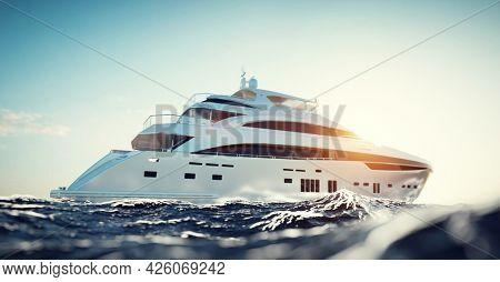 Luxury motor yacht on the ocean at sunny day. 3D illustration