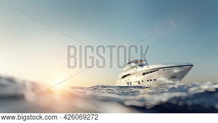 Luxury motor yacht on the ocean at sunset. 3D illustration