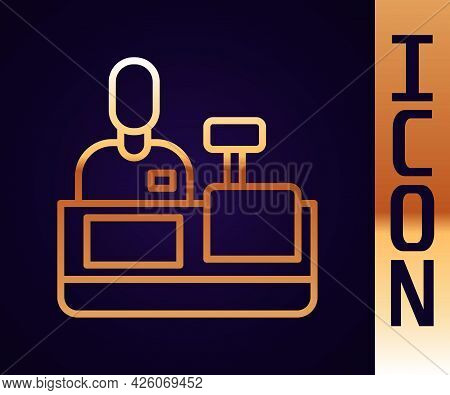 Gold Line Cashier At Cash Register Supermarket Icon Isolated On Black Background. Shop Assistant, Ca
