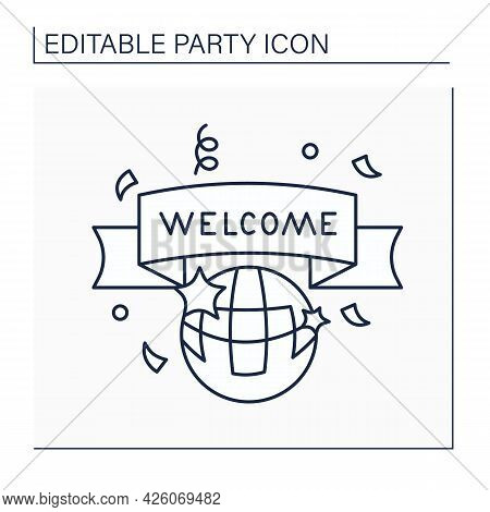 Welcome Party Line Icon. Celebrations For New Employers. Welcome Banner. Greetings. Celebrating Conc