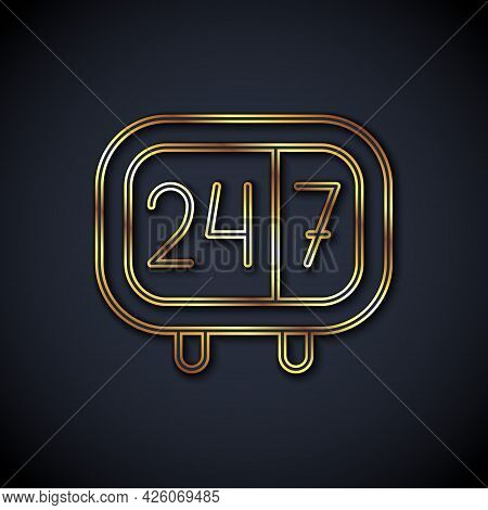Gold Line Clock 24 Hours Icon Isolated On Black Background. All Day Cyclic Icon. 24 Hours Service Sy