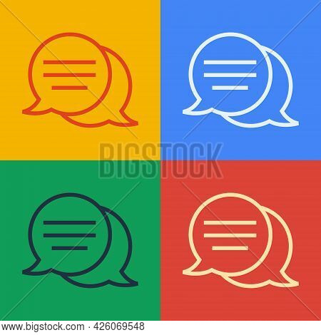 Pop Art Line Speech Bubble Chat Icon Isolated On Color Background. Message Icon. Communication Or Co