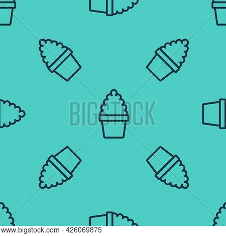 Black Line Cactus Peyote In Pot Icon Isolated Seamless Pattern On Green Background. Plant Growing In