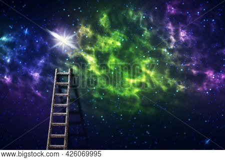 Ladder To The Starry Sky. Goal Achievement Concept. Success. Business. Finance Background