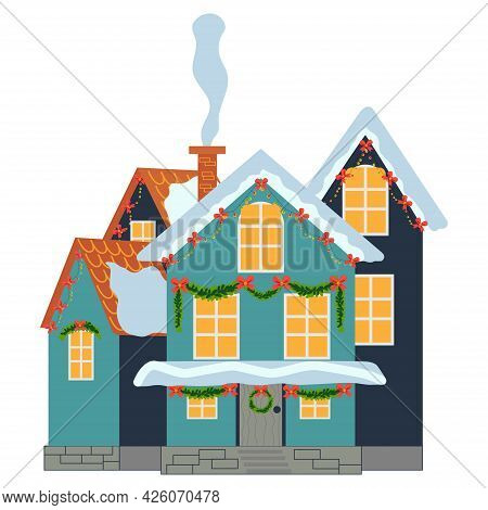 Isolated Decorated Buildings For New Year And Christmas. Building With Fir Tree At Yard, Constructio