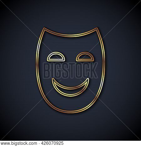 Gold Line Comedy Theatrical Mask Icon Isolated On Black Background. Vector