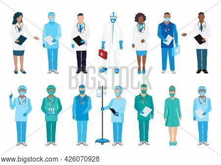 Doctors And Nurses Big Vector Set. Thanks To The Doctors For Saving Lives. Doctors, Nurses And Param