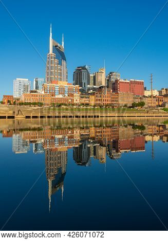 Nashville, Tennessee - 28 June 2021: View Of The Financial Downtown District Of Nashville And The Cu