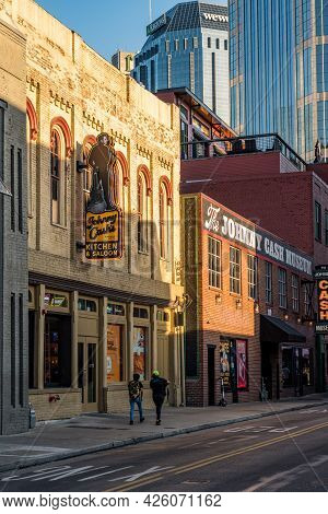 Nashville, Tennessee - 28 June 2021: Johnny Cash Museum And Kitchen Saloon In Downtown Nashville
