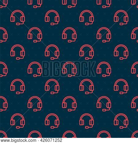 Red Line Headphones Icon Isolated Seamless Pattern On Black Background. Earphones. Concept For Liste