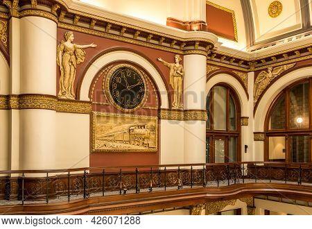 Nashville, Tennessee - 28 June 2021: Ornate Restoration Work Inside The Old Union Station In Nashvil