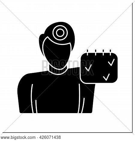 Headache Glyph Icon. Male Person With Calendar And Pulsating Head. Episodic Migraine And Head Ache,