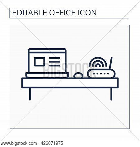 Workplace Line Icon. Modern Workspace. Comfortable Desk, Wi-fi Router And Laptop For Productive Work