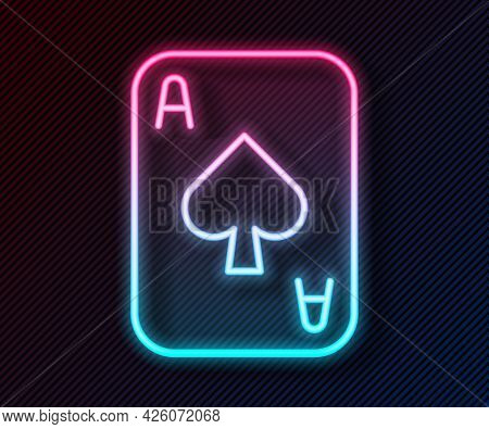 Glowing Neon Line Playing Cards Icon Isolated On Black Background. Casino Gambling. Vector