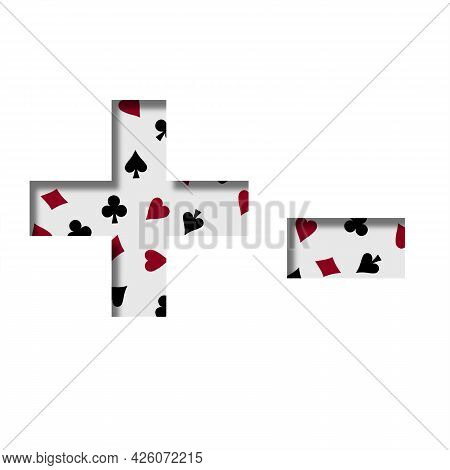 Card Games Font. Plus And Minus Signs Cut Out Of Paper On The Background Of The Pattern Of Card Suit