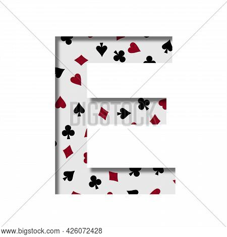 Card Games Font. The Letter E Cut Out Of Paper On The Background Of The Pattern Of Card Suits Spades