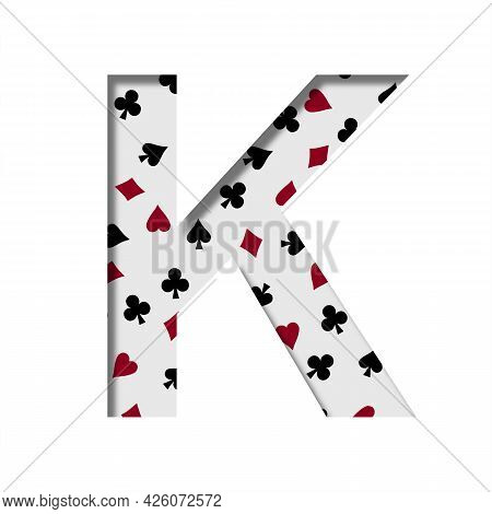 Card Games Font. The Letter K Cut Out Of Paper On The Background Of The Pattern Of Card Suits Spades